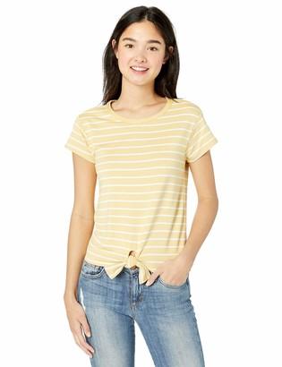 BB Dakota Women's Stripes Ahoy Tie Front Top