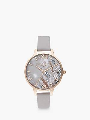 Olivia Burton OB16VM37 Women's Abstract Florals Leather Effect Strap Watch, Grey Lilac/Pale Rose Gold