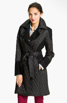 Vince Camuto Mixed Media Quilted Trench Coat