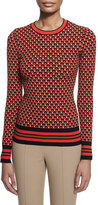 Michael Kors Hexagon-Print Long-Sleeve Sweater, Coral