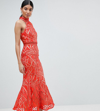 Jarlo Tall All Over Lace High Neck Fishtail Detail Dress-Orange