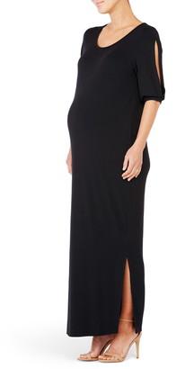 Ingrid & Isabel Split Sleeve Knit Maternity Maxi Dress