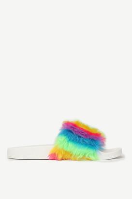 Ardene Faux Fur Rainbow Slides