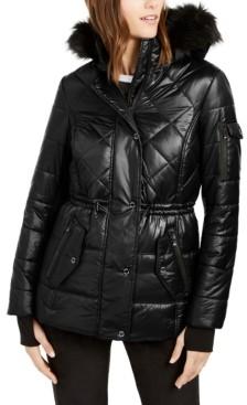 Michael Kors Michael Active Faux-Fur Trim Hooded Anorak Puffer Coat