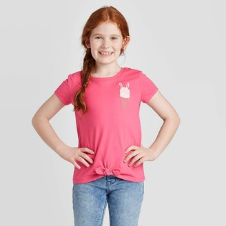 Cat & Jack Girls' Paradise Bunny Cone Pocket Hit T-Shirt - Cat & JackTM Pink