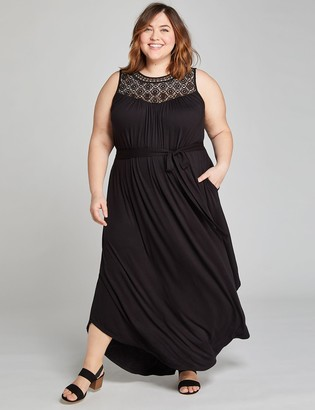 Lane Bryant Crochet Yoke Fit & Flare Maxi Dress