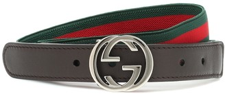 Gucci Kids Web Stripe leather-trimmed belt