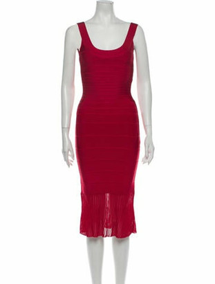 Herve Leger Scoop Neck Midi Length Dress Red