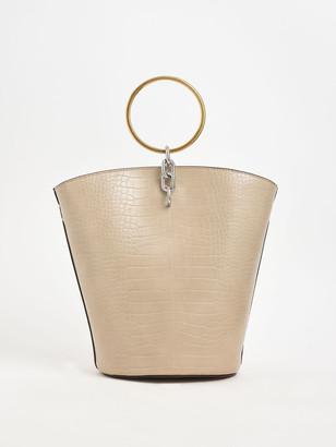 Charles & Keith Croc-Effect Large Bracelet Bucket Bag