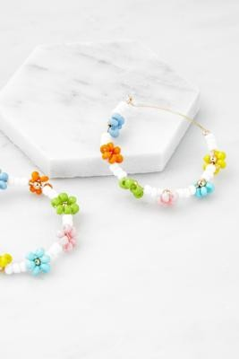 Urban Outfitters Rainbow Floral Beaded Hoop Earrings - Assorted ALL at