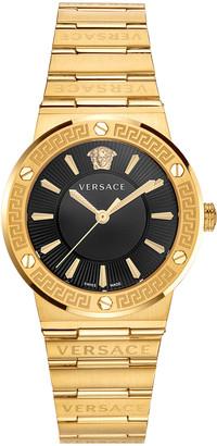 Versace Greca Logo Watch with Bracelet Strap, Yellow Gold/Black
