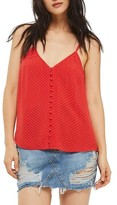 Topshop Women's Button Front Pindot Camisole