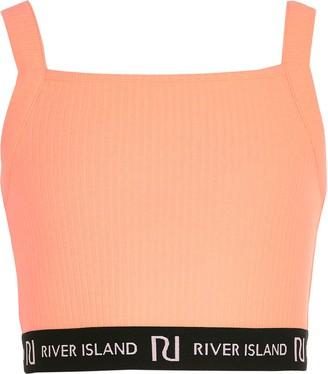 River Island Girls Orange RI square neck crop top