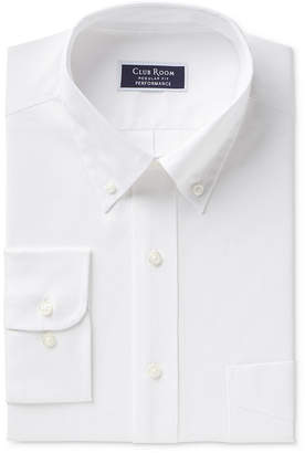 Club Room Men Classic/Regular Fit Performance Wrinkle Resistant White Pinpoint Solid Dress Shirt
