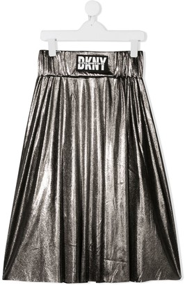 DKNY TEEN metallic logo patch skirt