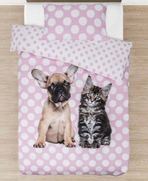 Tadpoles Best Buddies Furever Comforter with Removable Cover Twin Size 3 Piece Bedding Set Bedding
