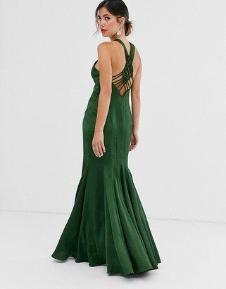 Asos Design DESIGN maxi dress with fishtail skirt and macrame back detail in satin-Green
