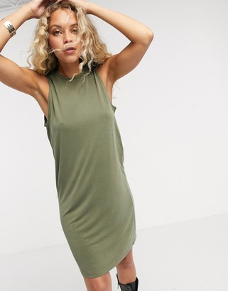Object sleeveless midi casual dress in olive