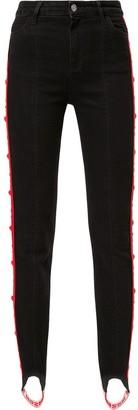 MSGM Side Logo Stripe Skinny Jeans