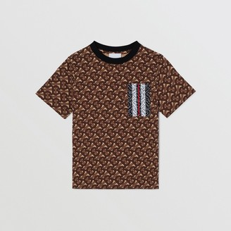Burberry Childrens Monogram Stripe Print Cotton T-shirt