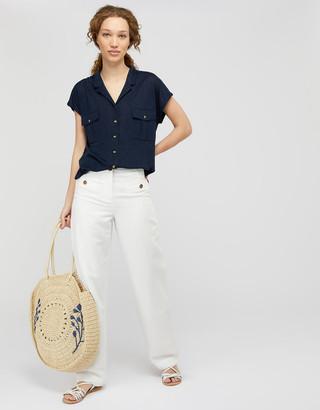 Monsoon Leena Short-Sleeve Shirt in Pure Linen Blue