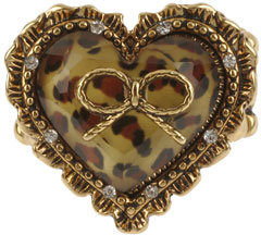 Betsey Johnson Leopard Heart Stretch Ring