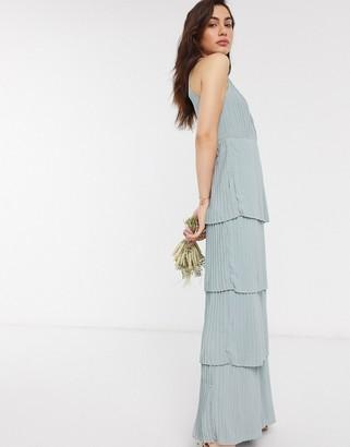TFNC high neck tiered midaxi bridesmaid dress in sage