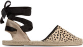 Soludos Lace-up leopard-print calf hair espadrilles