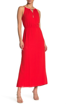 Nina Leonard Keyhole Tassel Sleeveless Maxi Dress