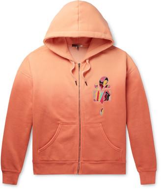 Isabel Marant Mikoas Appliqued Degrade Fleece-Back Cotton-Blend Jersey Zip-Up Hoodie