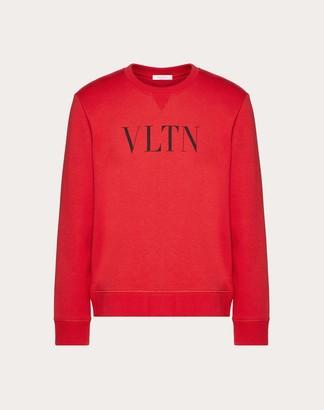 Valentino Vltn Crew Neck Sweatshirt Man Black Cotton 94%, Polyamide 6% M