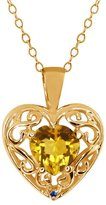 Gem Stone King 0.73 Ct Heart Shape Yellow Citrine Blue Sapphire 14K Yellow Gold Pendant