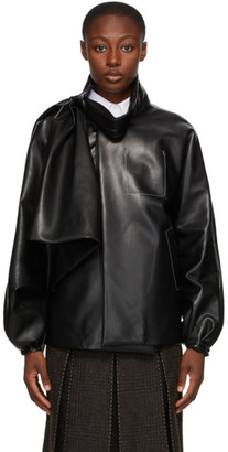 Maison Margiela Black Faux-Leather Draped Jacket