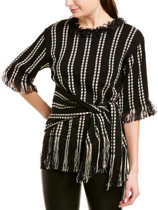 Oscar de la Renta Geometric Silk-Blend Sweater