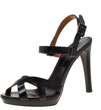 Burberry Black Leather Bridle Ankle Strap Sandals Size 41
