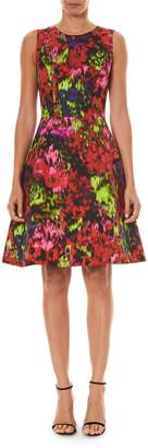 Carolina Herrera Floral Print Cotton-Silk A-Line Dress