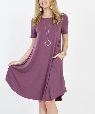 Lydiane Women's Casual Dresses EGGPLANT - Eggplant Crewneck Short-Sleeve Curved-Hem Pocket Tunic Dress - Women