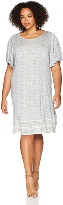 Lucky Brand Women's Size Plus Printed Ruffle Dress in Blue Multi 1X