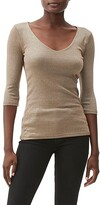Thumbnail for your product : Michael Stars Shine 3/4 Sleeve Double Front V-Neck