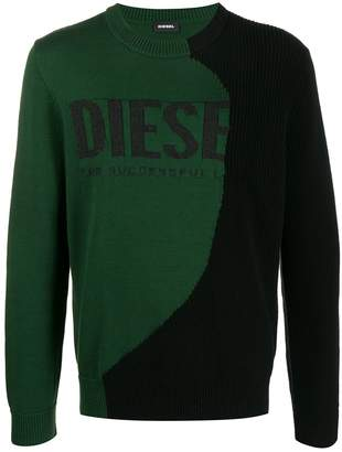 Diesel logo intarsia knit sweater