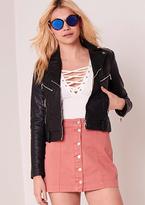 Missy Empire Layla Pink Denim Button Up Mini Skirt