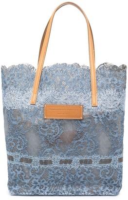 Ermanno Scervino Floral Lace Shopper Tote