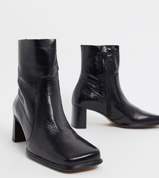 ASOS DESIGN Wide Fit Roisin premium leather square toe boots in black