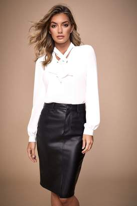 Lipsy Faux Leather Pencil Skirt - 8 - Black