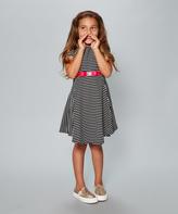 Dollie & Me Black & White Stripe Dress & Doll Dress - Girls