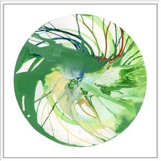 Jonathan Bass Studio Spin Art 7, Decorative Framed Hand Embellished Canvas