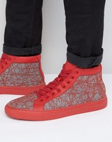 Asos High Top Sneakers in Red With Chunky Sole