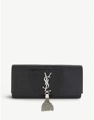 Saint Laurent Ladies Black and Silver Feminine Kate Crocodile-Embossed Leather Clutch Bag