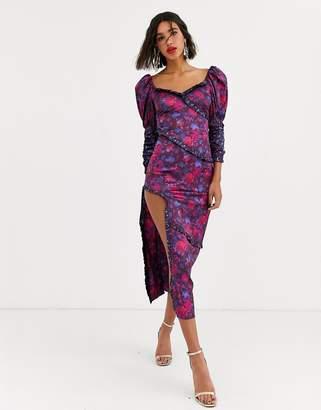 For Love & Lemons Pixie maxi dress in floral print-Purple