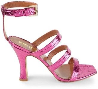 Paris Texas Ankle-Cuff Metallic Croc-Embossed Leather Sandals